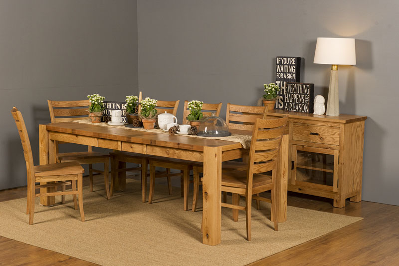 Heartwood Oak Block Leg Table